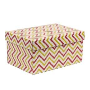 Dárková krabice s víkem 300x200x150/40 mm, VZOR - CIK CAK korálová/žlutá