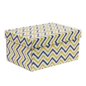 Dárková krabice s víkem 300x200x150/40 mm, VZOR - CIK CAK modrá/žlutá