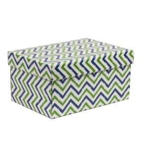 Dárková krabice s víkem 300x200x150/40 mm, VZOR - CIK CAK zelená/modrá