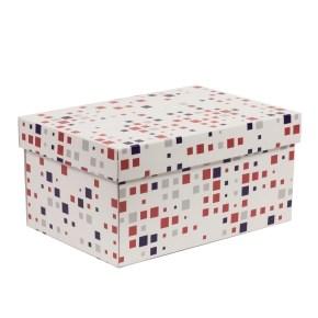 Dárková krabice s víkem 300x200x150/40 mm, VZOR - KOSTKY fialová/korálová
