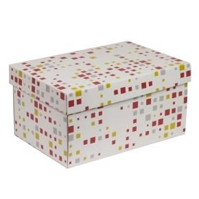 Dárková krabice s víkem 300x200x150/40 mm, VZOR - KOSTKY korálová/žlutá
