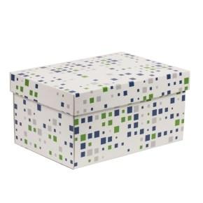 Dárková krabice s víkem 300x200x150/40 mm, VZOR - KOSTKY zelená/modrá