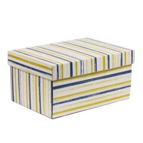 Dárková krabice s víkem 300x200x150/40 mm, VZOR - PRUHY modrá/žlutá