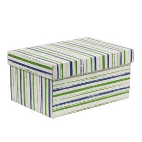 Dárková krabice s víkem 300x200x150/40 mm, VZOR - PRUHY zelená/modrá