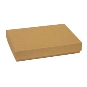 Dárková krabice s víkem 300x200x50/40 mm, hnědá - kraftová