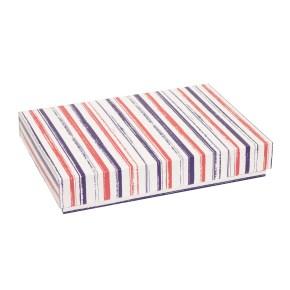 Dárková krabice s víkem 300x200x50/40 mm, VZOR - PRUHY fialová/korálová
