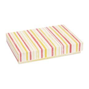Dárková krabice s víkem 300x200x50/40 mm, VZOR - PRUHY korálová/žlutá