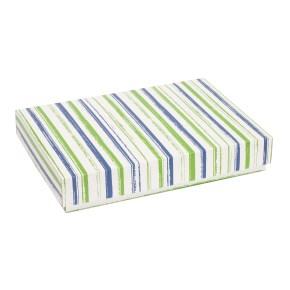 Dárková krabice s víkem 300x200x50/40 mm, VZOR - PRUHY zelená/modrá