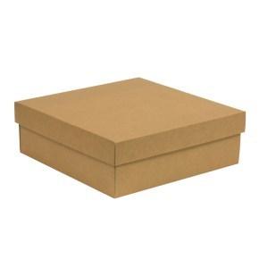 Dárková krabice s víkem 300x300x100/40 mm, hnědá - kraftová