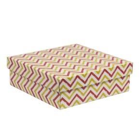 Dárková krabice s víkem 300x300x100/40 mm, VZOR - CIK CAK korálová/žlutá