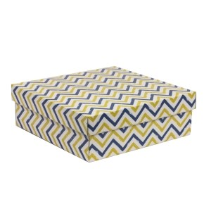 Dárková krabice s víkem 300x300x100/40 mm, VZOR - CIK CAK modrá/žlutá