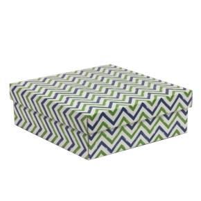 Dárková krabice s víkem 300x300x100/40 mm, VZOR - CIK CAK zelená/modrá