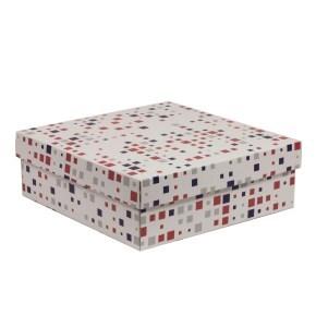 Dárková krabice s víkem 300x300x100/40 mm, VZOR - KOSTKY fialová/korálová