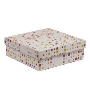 Dárková krabice s víkem 300x300x100/40 mm, VZOR - KOSTKY korálová/žlutá