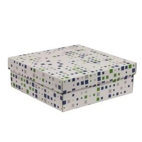 Dárková krabice s víkem 300x300x100/40 mm, VZOR - KOSTKY zelená/modrá