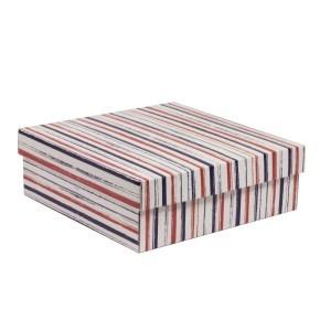 Dárková krabice s víkem 300x300x100/40 mm, VZOR - PRUHY fialová/korálová