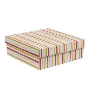 Dárková krabice s víkem 300x300x100/40 mm, VZOR - PRUHY korálová/žlutá