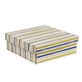 Dárková krabice s víkem 300x300x100/40 mm, VZOR - PRUHY modrá/žlutá