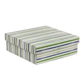 Dárková krabice s víkem 300x300x100/40 mm, VZOR - PRUHY zelená/modrá