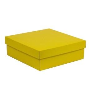 Dárková krabice s víkem 300x300x100/40 mm, žlutá