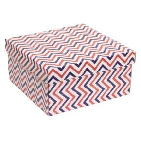 Dárková krabice s víkem 300x300x150/40 mm, VZOR - CIK CAK fialová/korálová