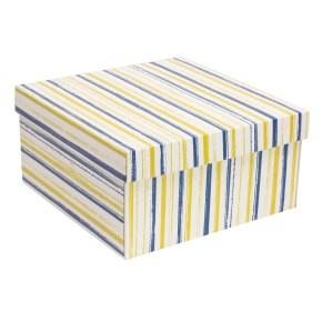 Dárková krabice s víkem 300x300x150/40 mm, VZOR - PRUHY modrá/žlutá