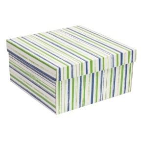 Dárková krabice s víkem 300x300x150/40 mm, VZOR - PRUHY zelená/modrá