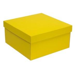 Dárková krabice s víkem 300x300x150/40 mm, žlutá