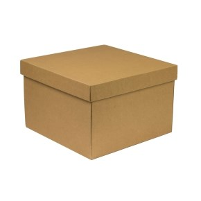 Dárková krabice s víkem 300x300x200/40 mm, hnědá - kraftová