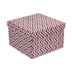 Dárková krabice s víkem 300x300x200/40 mm, VZOR - CIK CAK fialová/korálová