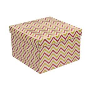 Dárková krabice s víkem 300x300x200/40 mm, VZOR - CIK CAK korálová/žlutá