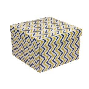Dárková krabice s víkem 300x300x200/40 mm, VZOR - CIK CAK modrá/žlutá