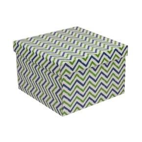 Dárková krabice s víkem 300x300x200/40 mm, VZOR - CIK CAK zelená/modrá