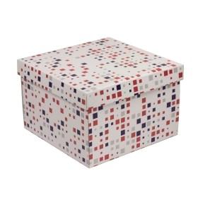 Dárková krabice s víkem 300x300x200/40 mm, VZOR - KOSTKY fialová/korálová