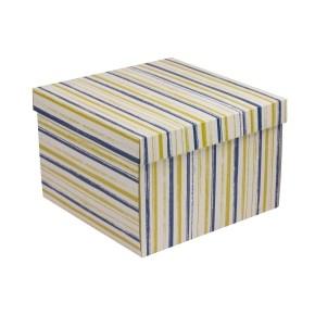 Dárková krabice s víkem 300x300x200/40 mm, VZOR - PRUHY modrá/žlutá