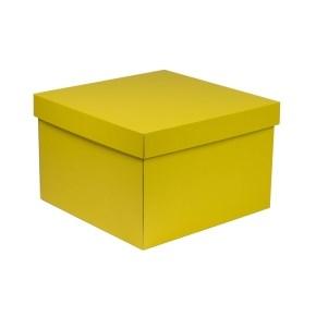 Dárková krabice s víkem 300x300x200/40 mm, žlutá