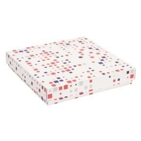 Dárková krabice s víkem 300x300x50/40 mm, VZOR - KOSTKY fialová/korálová