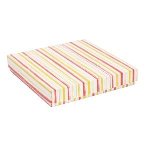 Dárková krabice s víkem 300x300x50/40 mm, VZOR - PRUHY korálová/žlutá