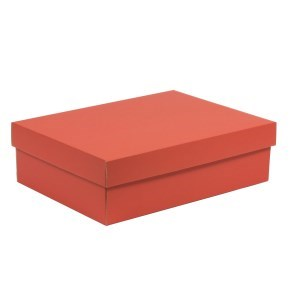 Dárková krabice s víkem 350x250x100/40 mm, korálová