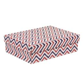 Dárková krabice s víkem 350x250x100/40 mm, VZOR - CIK CAK fialová/korálová