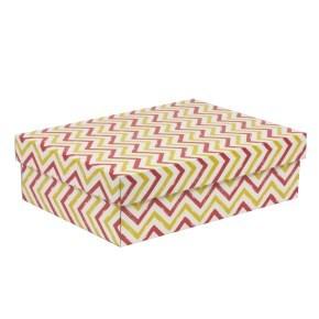 Dárková krabice s víkem 350x250x100/40 mm, VZOR - CIK CAK korálová/žlutá