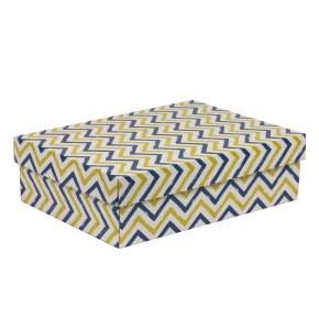 Dárková krabice s víkem 350x250x100/40 mm, VZOR - CIK CAK modrá/žlutá