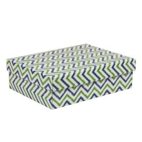 Dárková krabice s víkem 350x250x100/40 mm, VZOR - CIK CAK zelená/modrá