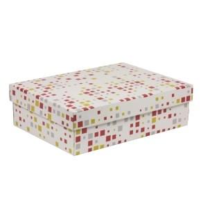 Dárková krabice s víkem 350x250x100/40 mm, VZOR - KOSTKY korálová/žlutá