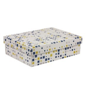 Dárková krabice s víkem 350x250x100/40 mm, VZOR - KOSTKY modrá/žlutá