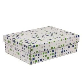 Dárková krabice s víkem 350x250x100/40 mm, VZOR - KOSTKY zelená/modrá