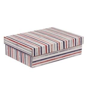 Dárková krabice s víkem 350x250x100/40 mm, VZOR - PRUHY fialová/korálová