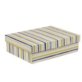 Dárková krabice s víkem 350x250x100/40 mm, VZOR - PRUHY modrá/žlutá