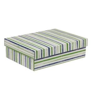 Dárková krabice s víkem 350x250x100/40 mm, VZOR - PRUHY zelená/modrá