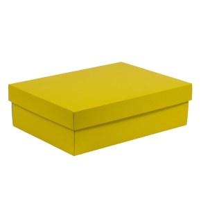 Dárková krabice s víkem 350x250x100/40 mm, žlutá